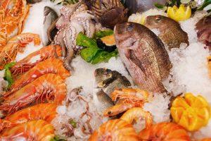 Fresh seafood.