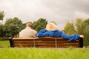 Old couple on a bench.