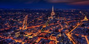 Bird's eye view of Paris during the night time.
