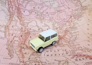 A small car on a map.