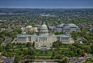 Aerial view of the White House in one of the best neighborhoods in Washington DC.