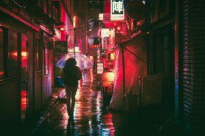 Streets of Japan at night.