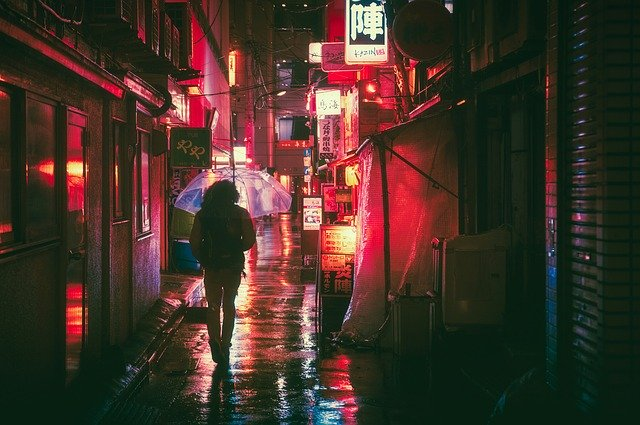 Streets of Japan at night.