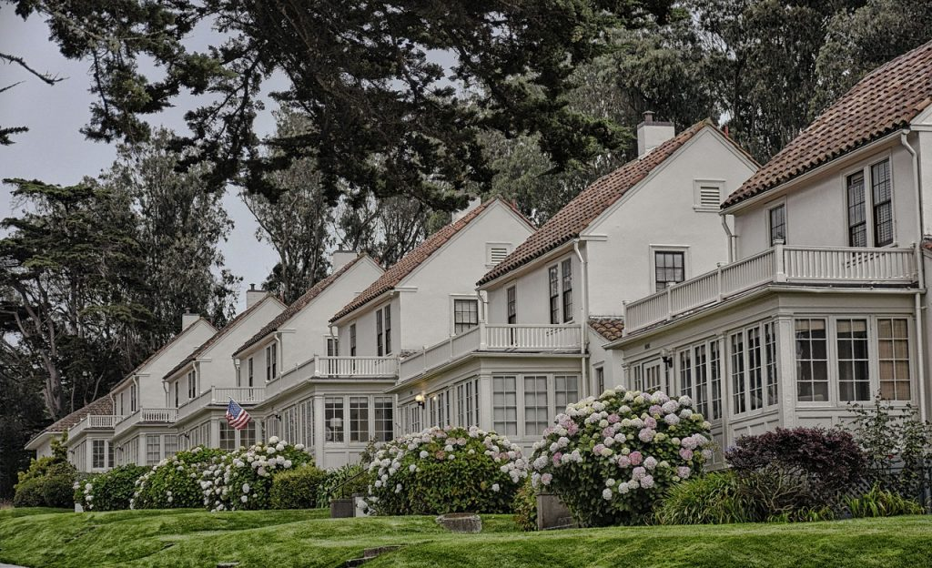 White suburban houses you can find in the California housing market