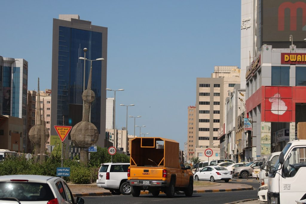 Various buildings in one of the Kuwait cities showing the diversity of the real estate market in Kuwait.