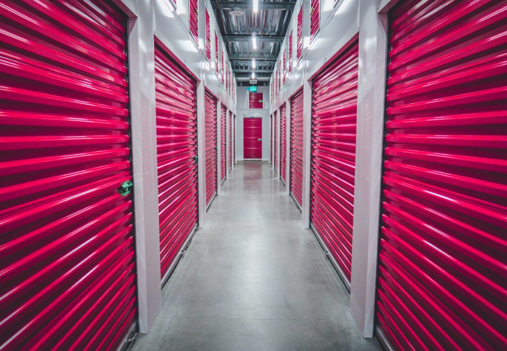 The interior of a storage warehouse.