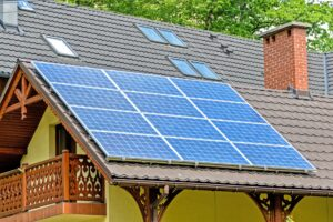 Solar panels on one of the sustainable houses in the US